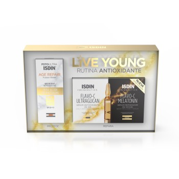 Isdin Pack Live Young Flavo-C Ultraglican + Flavo-C Melatonin Ampollas + Age Repair Fusion Water SPF50+ 50ml