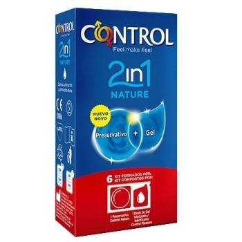 Control Preservativos Nature 2 en 1 Preservativo + Gel Lubricante 6 Kits