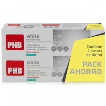 PHB White Pasta Dentífrica Sabor Menta Fresca Duplo 2x100ml.