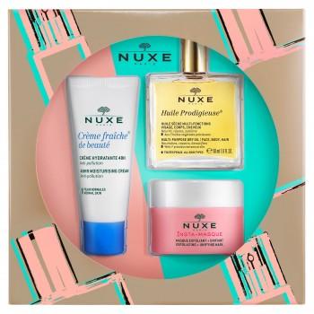 Nuxe Esencial Facial Cofre Crema Hidratante 48Horas + Mascarilla Exfoliante y Unificante + Huile Prodigieuse
