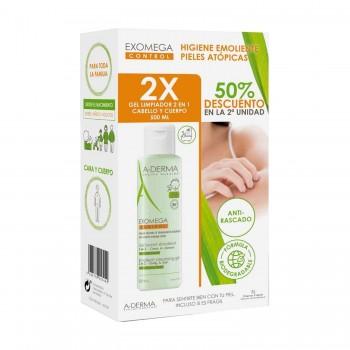 A-Derma Exomega Control Gel Limpiador 2 en 1 Cuerpo y Cabello Pack 2x500 ml