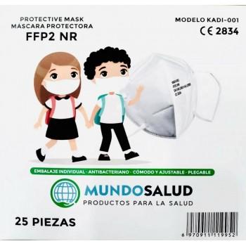 Mascarilla Infantil FFP2 CE2834 Modelo KADI-001 Color Blanco 25 Unidades