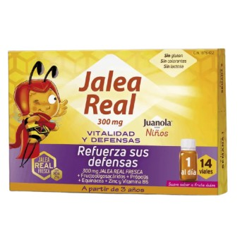 Juanola Niños Jalea Real 300mg Vitalidad y Defensas +3 Años Sabor Fruta Dulce 14 Viales