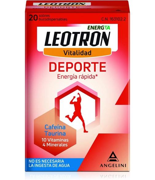 Leotron Vitalidad Deporte Cafeína Taurina 10 Vitaminas 4 Minerales 20 Sobres Bucodispersables
