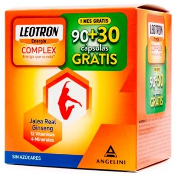 Leotron Complex Energía Jalea Real Ginseng 12 Vitaminas 4 minerales 90 + 30 Cápsulas Gratis
