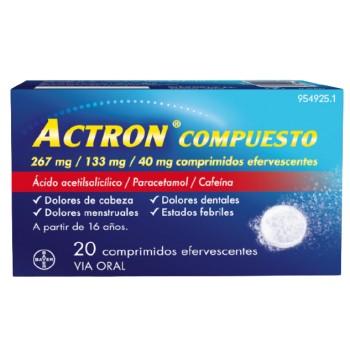Actron Compuesto 267 mg / 133 mg / 40 mg Comprimidos Efervescentes, 20 comprimidos