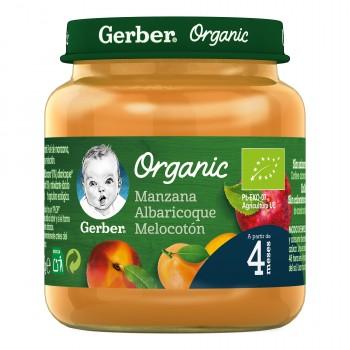 Gerber Organic Potito de Manzana Albaricoque y Melocotón +4 Meses 125g