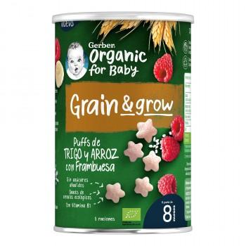 Gerber Organic Grain & Grow Snack de Trigoy Arroz con Frambuesa +8 Meses 35g