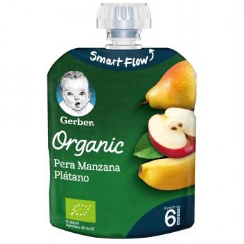 Gerber Organic Puré de Pera Manzana y Plátano +6 Meses 90g