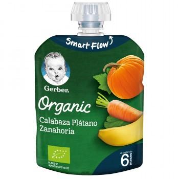 Gerber Organic Puré de Calabaza Plátano y Zanahoria +6 Meses 90g