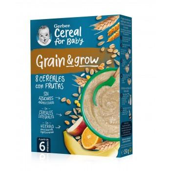 Gerber Grain & Grow Papilla 8 Cereales con Fruta +6 Meses 250g