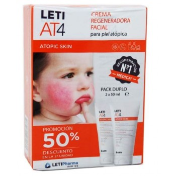 Leti AT4 Atopic Skin Crema Facial Regeneradora Pack 2x50ml