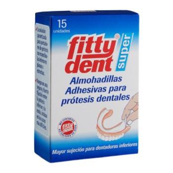 FittyDent Super Almohadillas Adhesivas Para Prótesis Dentales 15 Unidades