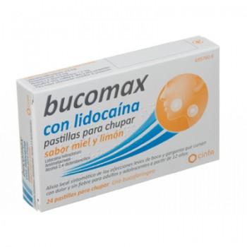 Bucomax con lidocaina pastillas para chupar sabor miel y limón, 24 pastillas