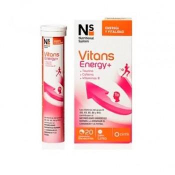 NS Vitans Energy + Taurina + Cafeína + Vitaminas B 20 Comprmidos Efervescentes Sabor Limón