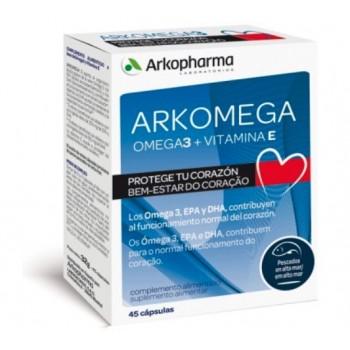 Arkomega Omega 3 + Vitamina E Salud del Corazón 45 Cápsulas