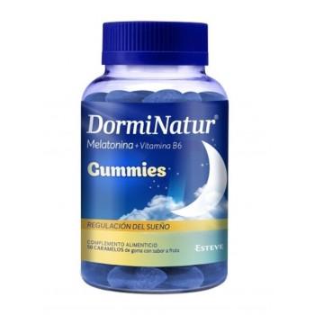 Dorminatur Melatonina y Vitamina B6 Regulación del Sueño 50 Caramelos de Gominola Sabor a Fruta