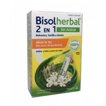 Bisolherbal 2 en 1 Sin Azúcar Tos Seca y Tos Productiva 100% Natural 12 Monodosis en Sobres de 10 ml