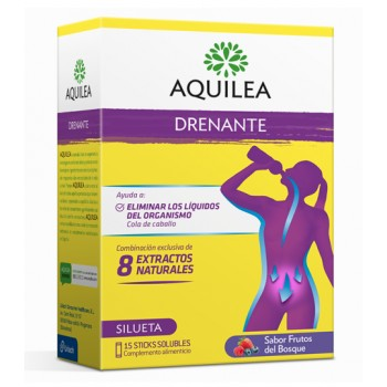 Aquilea Drenante con 8 Extractos Naturales 15 Sticks Solubles Sabor Frutos del Bosque
