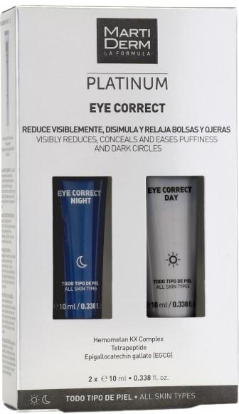 MartiDerm Platinum Eye Correct Bolsas y Ojeras Fórmula Día y Noche Todo Tipo de Piel 2x10 ml